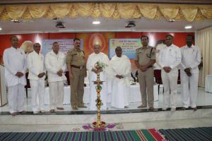 1. L-R= BK Ranganath, Dr.E.V. Swaminathan, Ashok Gaba, K.S Kabbur, BK Shukla didi, BK Laxmi didi, Manjeet Kumar, Shiv Singh, Krishna Murthy on stage